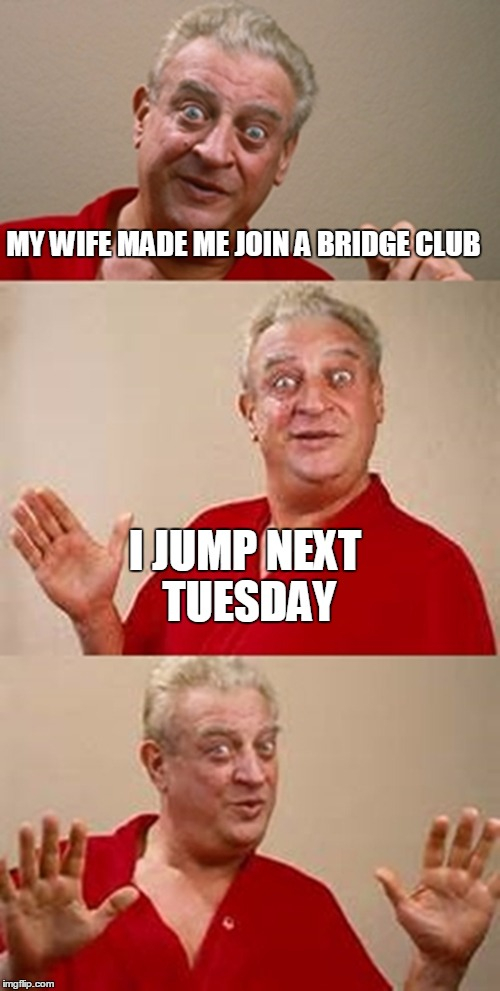 bad pun Dangerfield  | MY WIFE MADE ME JOIN A BRIDGE CLUB I JUMP NEXT TUESDAY | image tagged in bad pun dangerfield | made w/ Imgflip meme maker