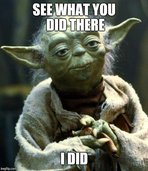 Star Wars Yoda Meme | SEE WHAT YOU DID THERE I DID | image tagged in memes,star wars yoda | made w/ Imgflip meme maker