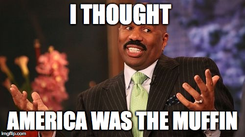 Steve Harvey Meme | I THOUGHT AMERICA WAS THE MUFFIN | image tagged in memes,steve harvey | made w/ Imgflip meme maker