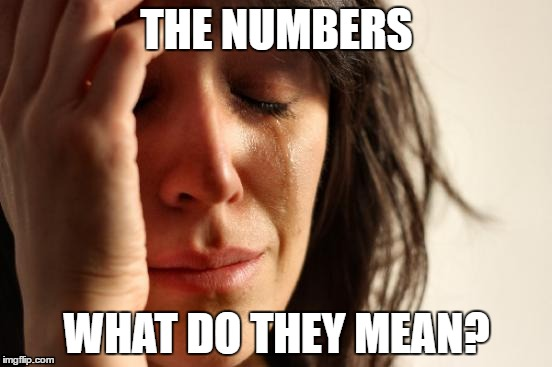 First World Problems Meme |  THE NUMBERS; WHAT DO THEY MEAN? | image tagged in memes,first world problems | made w/ Imgflip meme maker