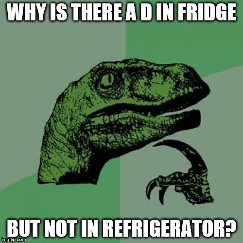 Philosoraptor Meme | WHY IS THERE A D IN FRIDGE BUT NOT IN REFRIGERATOR? | image tagged in memes,philosoraptor | made w/ Imgflip meme maker