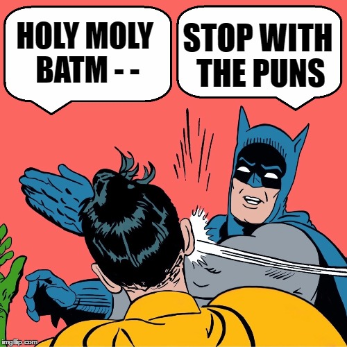 HOLY MOLY BATM - - STOP WITH THE PUNS | made w/ Imgflip meme maker