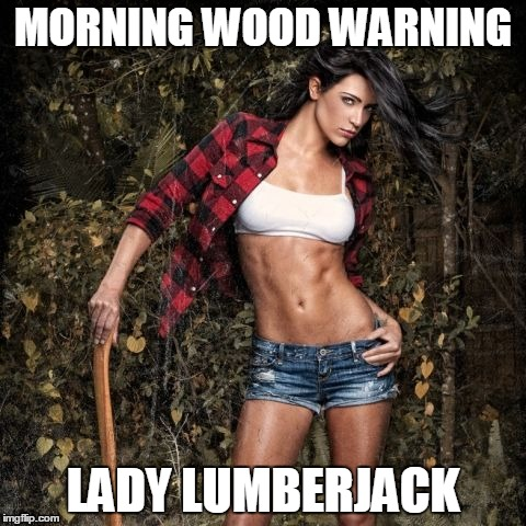 Lady lumberjack | MORNING WOOD WARNING LADY LUMBERJACK | image tagged in lady lumberjack | made w/ Imgflip meme maker