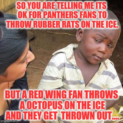 Third World Skeptical Kid Meme | SO YOU ARE TELLING ME ITS OK FOR PANTHERS FANS TO THROW RUBBER RATS ON THE ICE. BUT A RED WING FAN THROWS A OCTOPUS ON THE ICE AND THEY GET  | image tagged in memes,third world skeptical kid | made w/ Imgflip meme maker