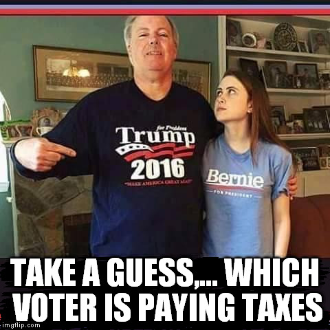 This shouldn't be too hard | TAKE A GUESS,... WHICH VOTER IS PAYING TAXES | image tagged in vote bernie sanders | made w/ Imgflip meme maker