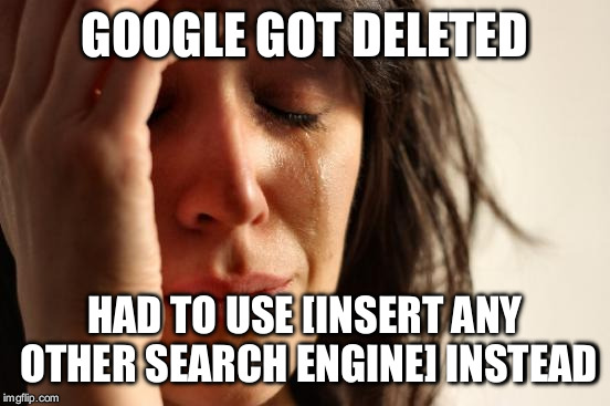 First World Problems Meme | GOOGLE GOT DELETED HAD TO USE [INSERT ANY OTHER SEARCH ENGINE] INSTEAD | image tagged in memes,first world problems | made w/ Imgflip meme maker