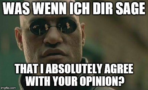 Matrix Morpheus Meme | WAS WENN ICH DIR SAGE THAT I ABSOLUTELY AGREE WITH YOUR OPINION? | image tagged in memes,matrix morpheus | made w/ Imgflip meme maker