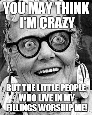 It would crush them... | YOU MAY THINK I'M CRAZY BUT THE LITTLE PEOPLE WHO LIVE IN MY FILLINGS WORSHIP ME! | image tagged in crazy lady,crazy,fashionista,worship,delusions of grandeur,lego your ego | made w/ Imgflip meme maker