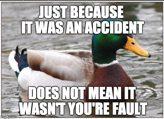 Actual Advice Mallard Meme | JUST BECAUSE IT WAS AN ACCIDENT DOES NOT MEAN IT WASN'T YOU'RE FAULT | image tagged in memes,actual advice mallard,AdviceAnimals | made w/ Imgflip meme maker