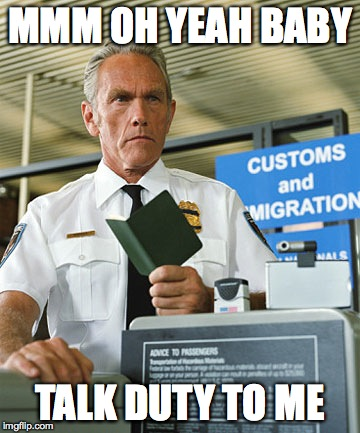 customs | MMM OH YEAH BABY TALK DUTY TO ME | image tagged in customs | made w/ Imgflip meme maker