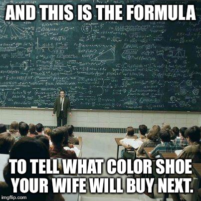 Next class has complex formula for predicting multi-color selection of same shoe style | AND THIS IS THE FORMULA TO TELL WHAT COLOR SHOE YOUR WIFE WILL BUY NEXT. | image tagged in school,meme,shoe color selection,formula | made w/ Imgflip meme maker