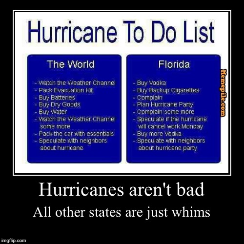 Life in Florida isn't that bad, guys! I swear! | Hurricanes aren't bad | All other states are just whims | image tagged in funny,demotivationals,florida,hurricane,the world,states | made w/ Imgflip demotivational maker