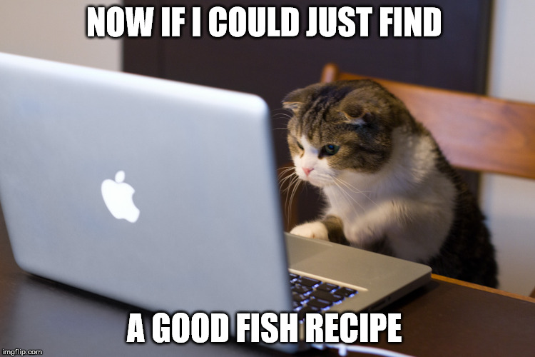 NOW IF I COULD JUST FIND A GOOD FISH RECIPE | made w/ Imgflip meme maker