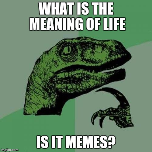 Philosoraptor Meme | WHAT IS THE MEANING OF LIFE IS IT MEMES? | image tagged in memes,philosoraptor | made w/ Imgflip meme maker
