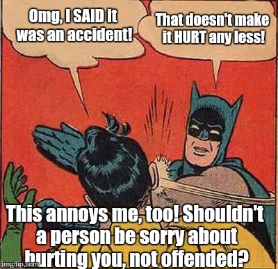Batman Slapping Robin Meme | Omg, I SAID it was an accident! That doesn't make it HURT any less! This annoys me, too! Shouldn't a person be sorry about hurting you, not  | image tagged in memes,batman slapping robin | made w/ Imgflip meme maker