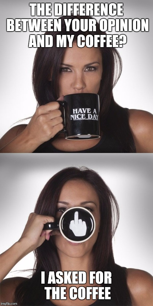 THE DIFFERENCE BETWEEN YOUR OPINION AND MY COFFEE? I ASKED FOR THE COFFEE | image tagged in coffee,middle finger | made w/ Imgflip meme maker