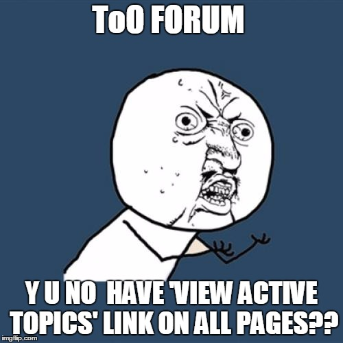 Y U No Meme | ToO FORUM Y U NO  HAVE 'VIEW ACTIVE TOPICS' LINK ON ALL PAGES?? | image tagged in memes,y u no | made w/ Imgflip meme maker