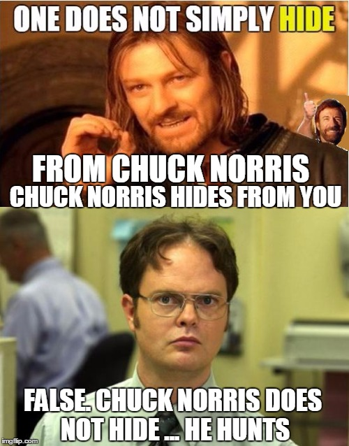 One does not simply correct Boromir | FROM CHUCK NORRIS CHUCK NORRIS HIDES FROM YOU FALSE. CHUCK NORRIS DOES NOT HIDE ... HE HUNTS | image tagged in dwight schrute,dwight false,chuck norris approves,one does not simply,original meme,combo meme | made w/ Imgflip meme maker