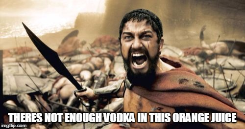 Sparta Leonidas Meme | THERES NOT ENOUGH VODKA IN THIS ORANGE JUICE | image tagged in memes,sparta leonidas | made w/ Imgflip meme maker