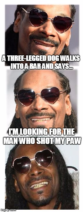 Okay - I can jump on a bandwagon same as the next guy... |  A THREE-LEGGED DOG WALKS INTO A BAR AND SAYS... I'M LOOKING FOR THE MAN WHO SHOT MY PAW | image tagged in bad pun dogg | made w/ Imgflip meme maker
