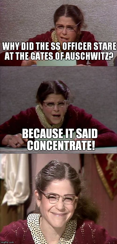 Happy bad pun week, I hope I'm not too late! |  WHY DID THE SS OFFICER STARE AT THE GATES OF AUSCHWITZ? BECAUSE IT SAID CONCENTRATE! | image tagged in bad pun gilda radner playing emily litella,auschwitz | made w/ Imgflip meme maker