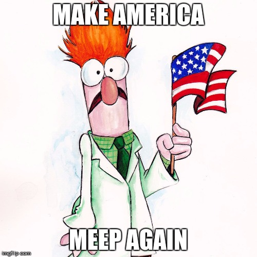 beaker | MAKE AMERICA MEEP AGAIN | image tagged in beaker | made w/ Imgflip meme maker