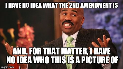 Steve Harvey Meme | I HAVE NO IDEA WHAT THE 2ND AMENDMENT IS AND, FOR THAT MATTER, I HAVE NO IDEA WHO THIS IS A PICTURE OF | image tagged in memes,steve harvey | made w/ Imgflip meme maker