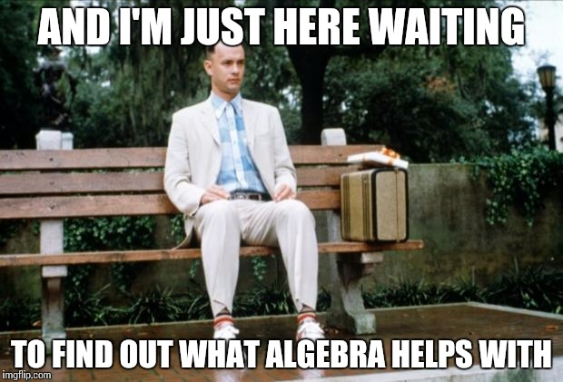 Forrest Gump |  AND I'M JUST HERE WAITING; TO FIND OUT WHAT ALGEBRA HELPS WITH | image tagged in forrest gump | made w/ Imgflip meme maker