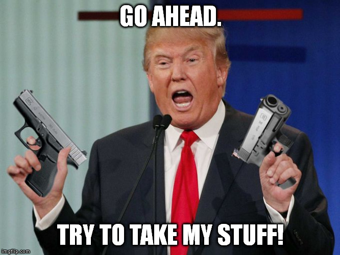 Gun Trump | GO AHEAD. TRY TO TAKE MY STUFF! | image tagged in gun trump | made w/ Imgflip meme maker
