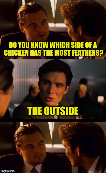 Inception Meme | DO YOU KNOW WHICH SIDE OF A CHICKEN HAS THE MOST FEATHERS? THE OUTSIDE | image tagged in memes,inception | made w/ Imgflip meme maker
