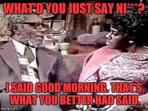 WHAT'D YOU JUST SAY NI***? I SAID GOOD MORNING. THAT'S WHAT YOU BETTER HAD SAID. | image tagged in aunt esther | made w/ Imgflip meme maker