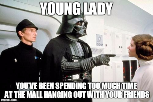 YOUNG LADY YOU'VE BEEN SPENDING TOO MUCH TIME AT THE MALL HANGING OUT WITH YOUR FRIENDS | made w/ Imgflip meme maker