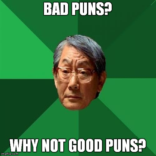 Just can't please everybody.. |  BAD PUNS? WHY NOT GOOD PUNS? | image tagged in memes,high expectations asian father | made w/ Imgflip meme maker