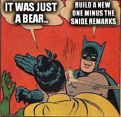 Batman Slapping Robin Meme | IT WAS JUST A BEAR.. BUILD A NEW ONE MINUS THE SNIDE REMARKS | image tagged in memes,batman slapping robin | made w/ Imgflip meme maker