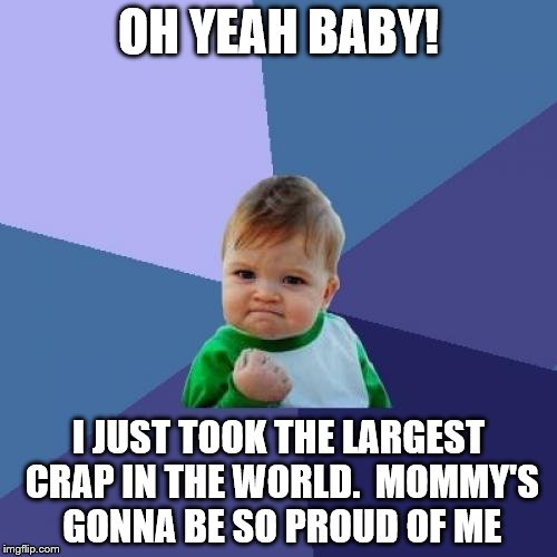 Success Kid Meme |  OH YEAH BABY! I JUST TOOK THE LARGEST CRAP IN THE WORLD.  MOMMY'S GONNA BE SO PROUD OF ME | image tagged in memes,success kid | made w/ Imgflip meme maker