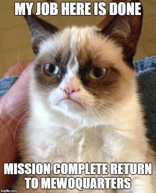 Grumpy Cat Meme | MY JOB HERE IS DONE MISSION COMPLETE RETURN TO MEWOQUARTERS | image tagged in memes,grumpy cat | made w/ Imgflip meme maker