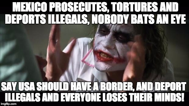 After seeing some of the arguments at the Manhattan protests | MEXICO PROSECUTES, TORTURES AND DEPORTS ILLEGALS, NOBODY BATS AN EYE SAY USA SHOULD HAVE A BORDER, AND DEPORT ILLEGALS AND EVERYONE LOSES TH | image tagged in memes,and everybody loses their minds,illegals,one does not simply,oh god why | made w/ Imgflip meme maker