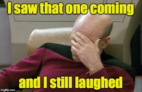 Captain Picard Facepalm Meme | I saw that one coming and I still laughed | image tagged in memes,captain picard facepalm | made w/ Imgflip meme maker