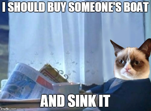 Grumpy McGrumpface :) | I SHOULD BUY SOMEONE'S BOAT AND SINK IT | image tagged in memes,i should buy a boat cat,grumpy,grumpy cat | made w/ Imgflip meme maker