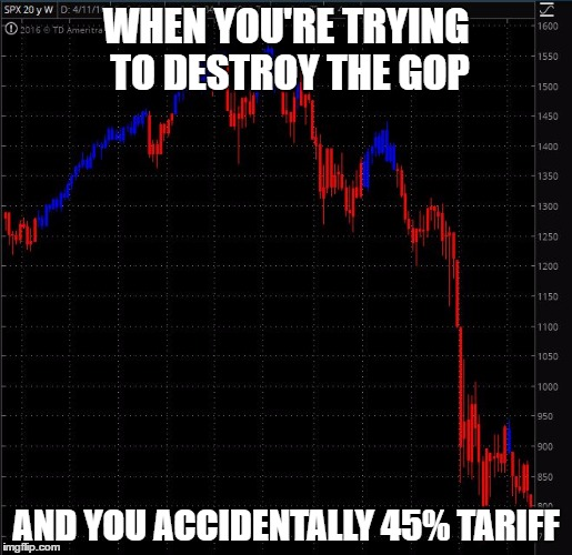 The Trump Gamble | WHEN YOU'RE TRYING TO DESTROY THE GOP AND YOU ACCIDENTALLY 45% TARIFF | image tagged in stock crash,memes,funny,political | made w/ Imgflip meme maker