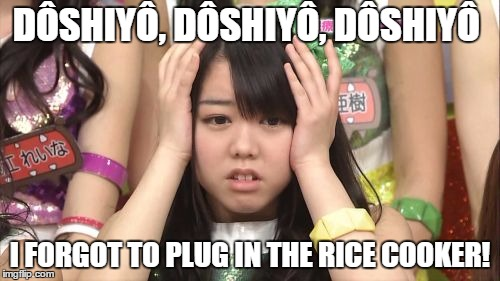 Goin Hungry. |  DÔSHIYÔ, DÔSHIYÔ, DÔSHIYÔ; I FORGOT TO PLUG IN THE RICE COOKER! | image tagged in memes,minegishi minami,rice,japanese | made w/ Imgflip meme maker