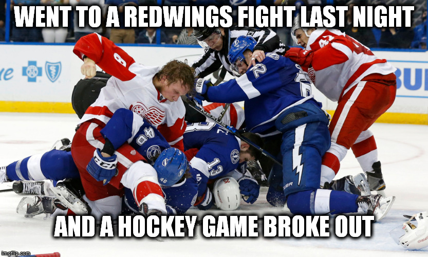WENT TO A REDWINGS FIGHT LAST NIGHT; AND A HOCKEY GAME BROKE OUT | image tagged in detroit red wings | made w/ Imgflip meme maker