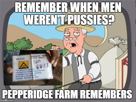 Stress Cards |  REMEMBER WHEN MEN WEREN'T PUSSIES? PEPPERIDGE FARM REMEMBERS | image tagged in pepridge farm rembers,sjws,stress,safe space,pepperidge farm remembers | made w/ Imgflip meme maker