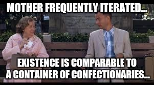 forrest gump box of chocolates | MOTHER FREQUENTLY ITERATED... EXISTENCE IS COMPARABLE TO A CONTAINER OF CONFECTIONARIES... | image tagged in forrest gump box of chocolates | made w/ Imgflip meme maker