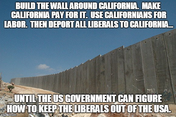 BUILD THE WALL AROUND CALIFORNIA.  MAKE CALIFORNIA PAY FOR IT.  USE CALIFORNIANS FOR LABOR.  THEN DEPORT ALL LIBERALS TO CALIFORNIA... UNTIL THE US GOVERNMENT CAN FIGURE HOW TO KEEP THE LIBERALS OUT OF THE USA. | made w/ Imgflip meme maker