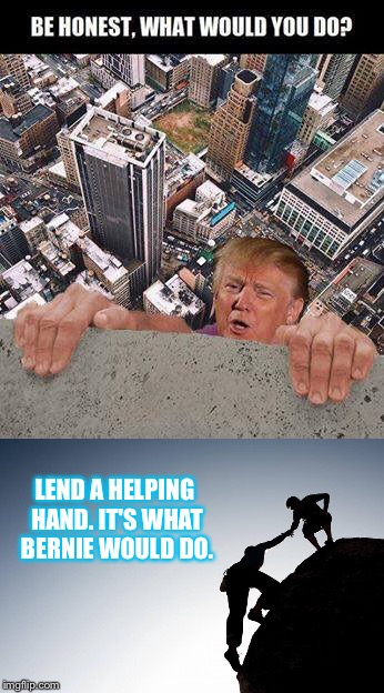 What would you do | LEND A HELPING HAND. IT'S WHAT BERNIE WOULD DO. | image tagged in helping,donald trump,bernie sanders,hand,holding,building | made w/ Imgflip meme maker