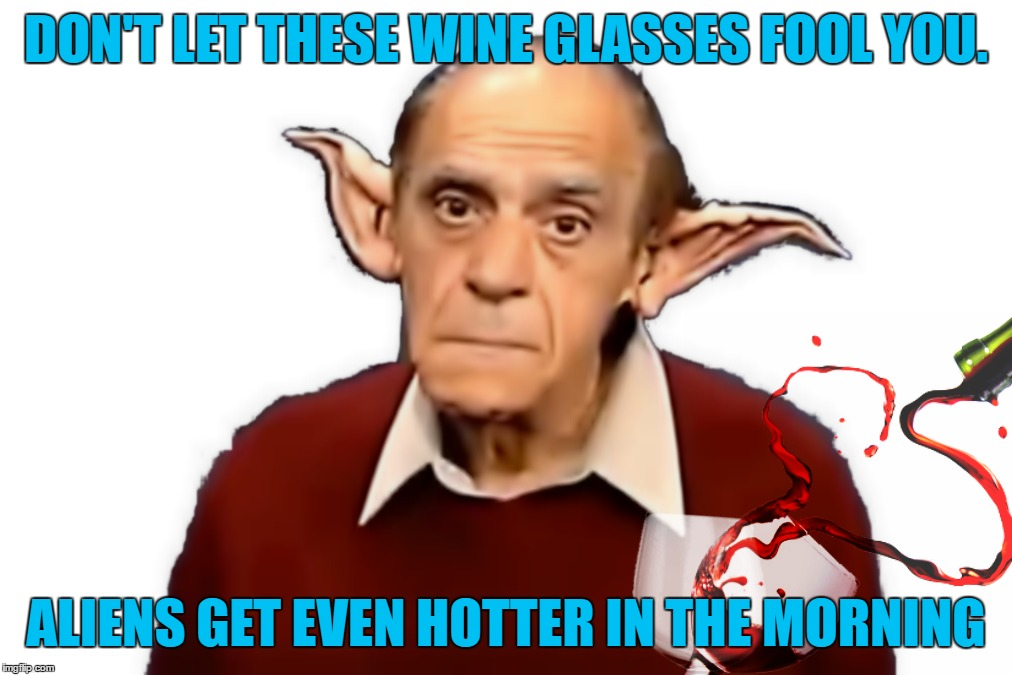 DON'T LET THESE WINE GLASSES FOOL YOU. ALIENS GET EVEN HOTTER IN THE MORNING | made w/ Imgflip meme maker