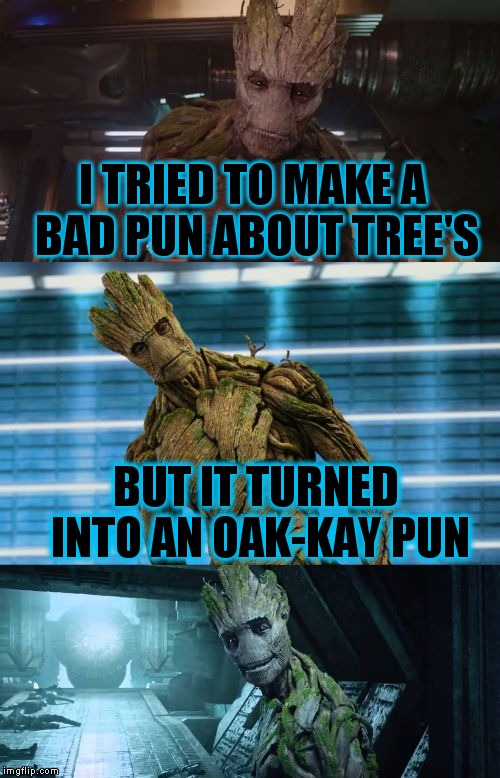 I am Groot! | I TRIED TO MAKE A BAD PUN ABOUT TREE'S BUT IT TURNED INTO AN OAK-KAY PUN | image tagged in bad pun groot | made w/ Imgflip meme maker