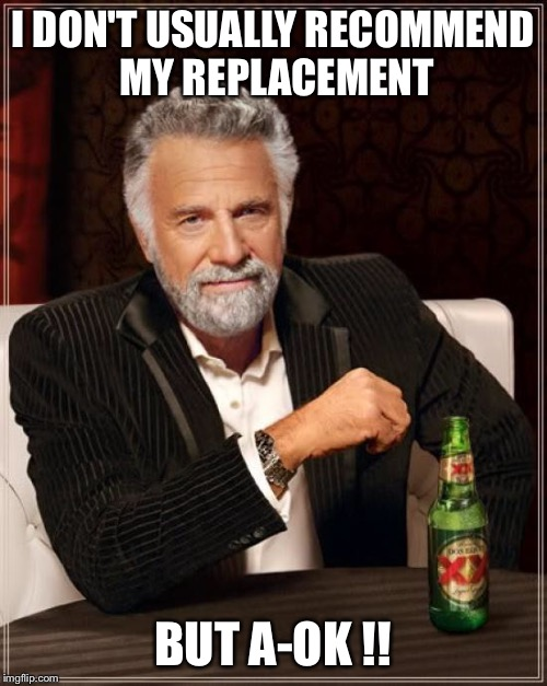 The Most Interesting Man In The World Meme | I DON'T USUALLY RECOMMEND MY REPLACEMENT BUT A-OK !! | image tagged in memes,the most interesting man in the world | made w/ Imgflip meme maker