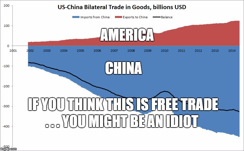 china versus america on trade | IF YOU THINK THIS IS FREE TRADE . . . YOU MIGHT BE AN IDIOT | image tagged in donald trump,make america great again | made w/ Imgflip meme maker